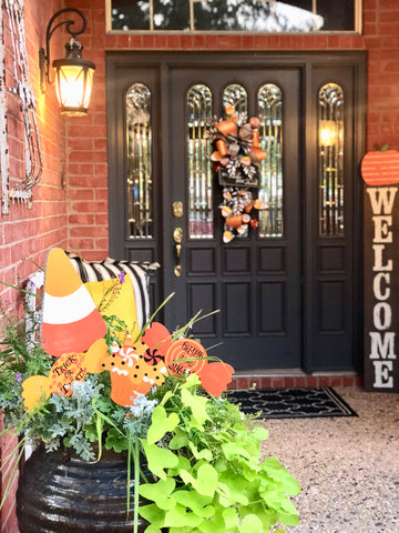 Halloween Front Door Decor | The Round Top Collection Halloween Candy Stakes| Glory Haus Welcome Board |