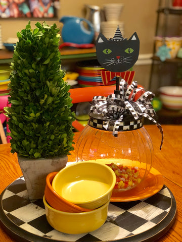 The Round Top Collection Bubble Jar and Halloween Cat Finial