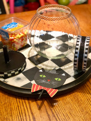 The Round Top Collection Bubble Jar with Cat Finial, Black and White Check Ribbon, Candy Corn