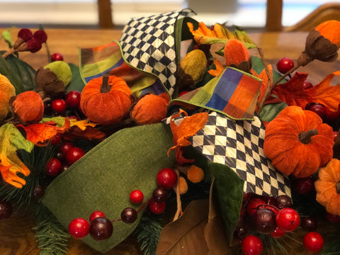 Fall Garland with Red, Orange, Green and Black & White