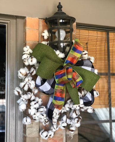 Fall Bow on Cotton Wreath - Front Porch Decor