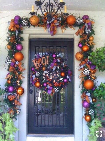 Purple, Orange, Black and White Halloween Front Door