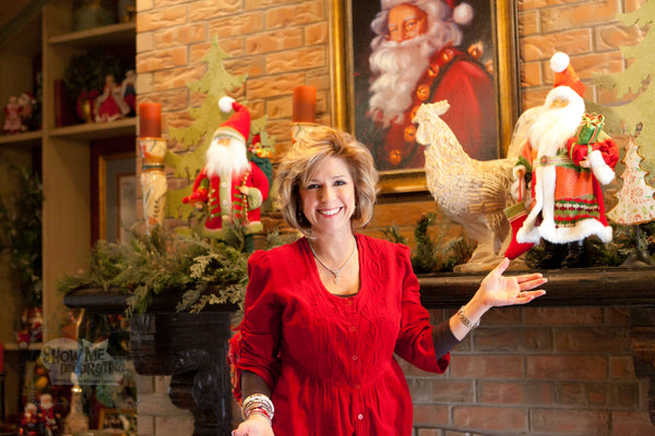 Kathy shows off her finished Christmas Country French Mantel