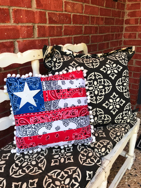 Fourth of July American flag pillow for front porch