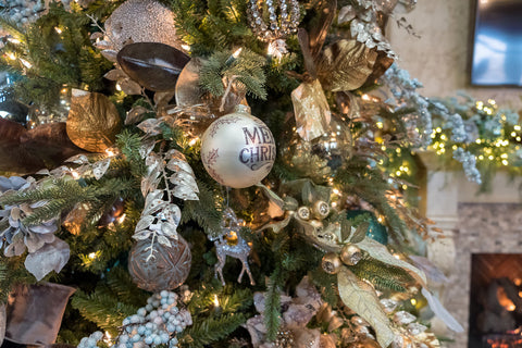 Merry Christmas Ball on Blue and Metals Christmas Tree