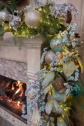 Blue and Metals Christmas Garland with Pale Blue Berry Spray