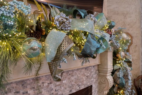 Blue and Metals Christmas Garland with Ribbon intertwined