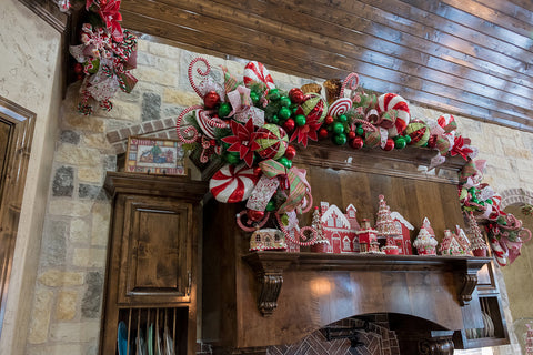 Peppermint decorated kitchen garland