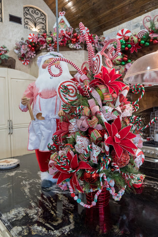 Cooking Santa and Peppermint decorated tabletop tree