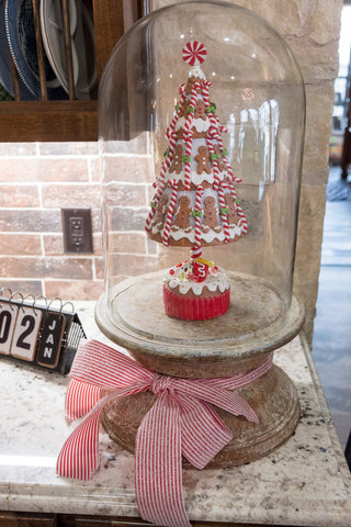 Gingerbread tree in glass dome