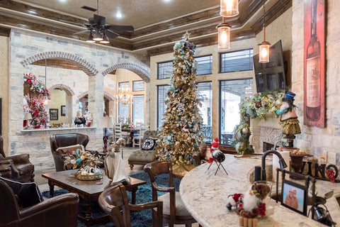 Traditional Christmas Kitchen contrasted with the Dreamy Ocean Blue and Metals Christmas Living Room