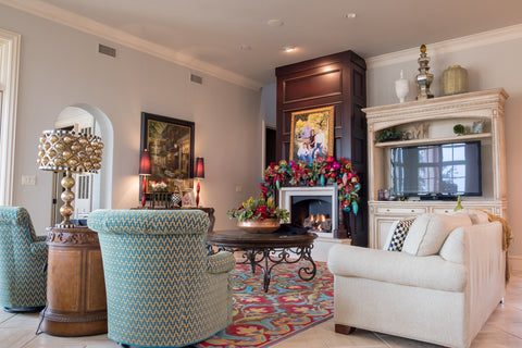 Colorful Garland in Family Room