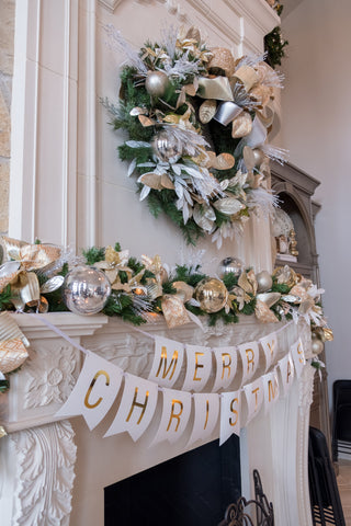 Gold, Silver & White Decorated Garland and Wreath