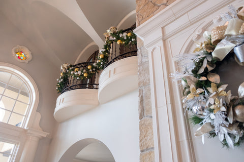 Home Banister Decorated with a Garland