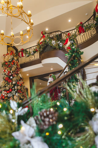 Faux Christmas Garland decorated Staircase