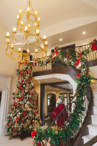 Grand Christmas Entry way and Christmas Decorated Staircase