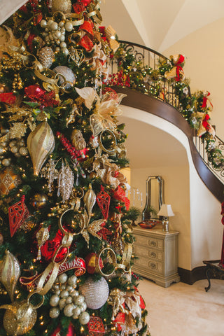 12' Decorated Christmas Tree and Christmas Decorated Staircase