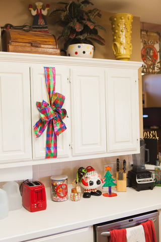 Kitchen Cabinets Decorated for Christmas