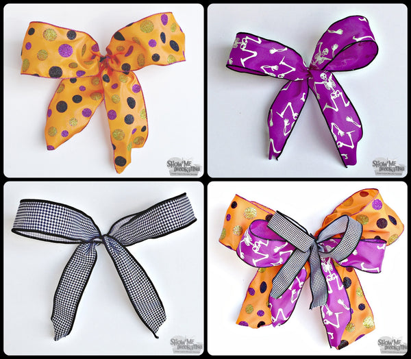 Cute Halloween ribbon! Mix the patterns for a fun bow! #halloween #blackandwhite #bows #ribbon