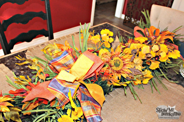 Floral sunflower picks and bows to add to your fall centerpiece. #fall