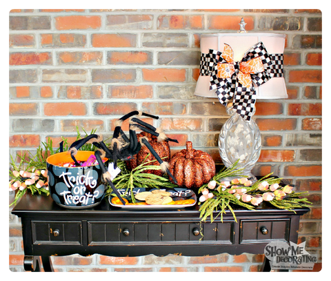 Easy Halloween decor for front entry table!