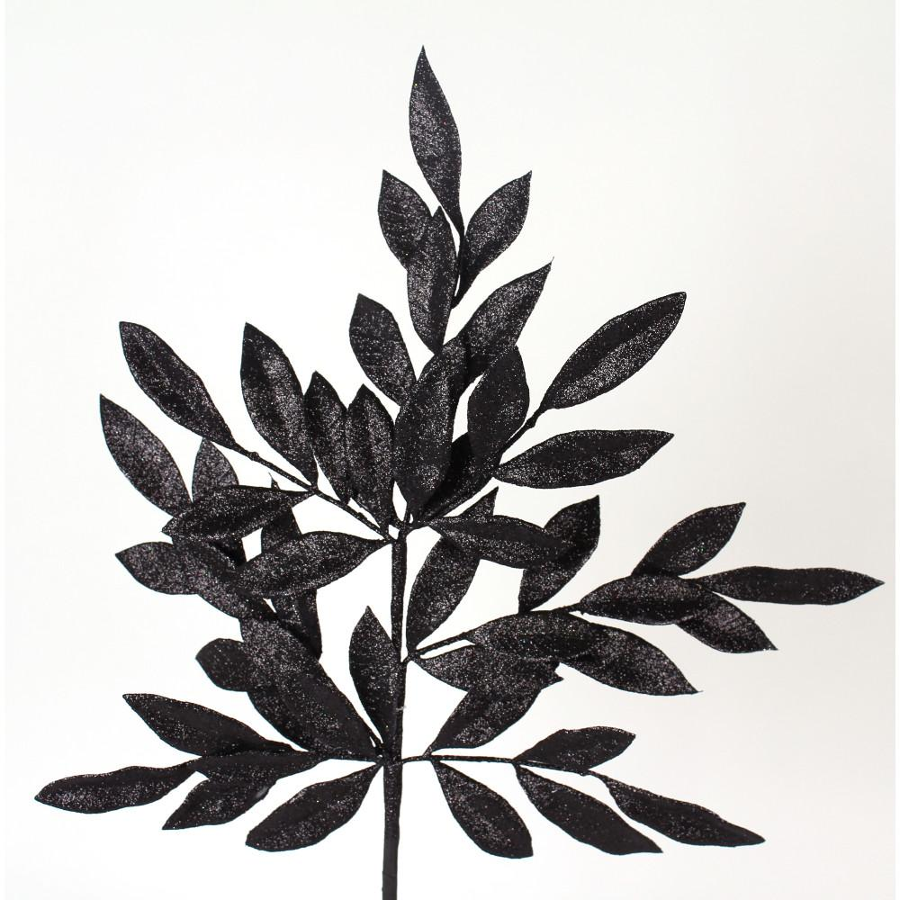 Black Bay Leaf Glitter Spray, 23""