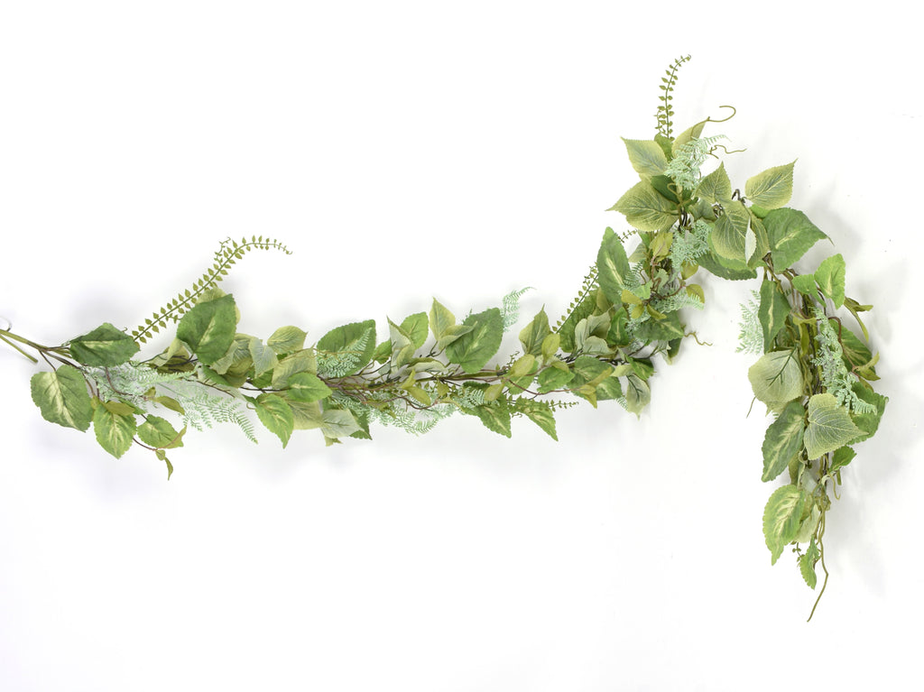 Mixed Green Leaf Garland, 6'