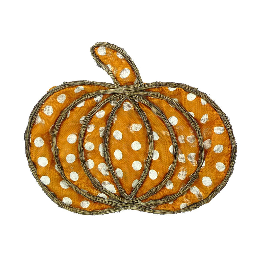 Orange Polka Dot Burlap Pumpkin