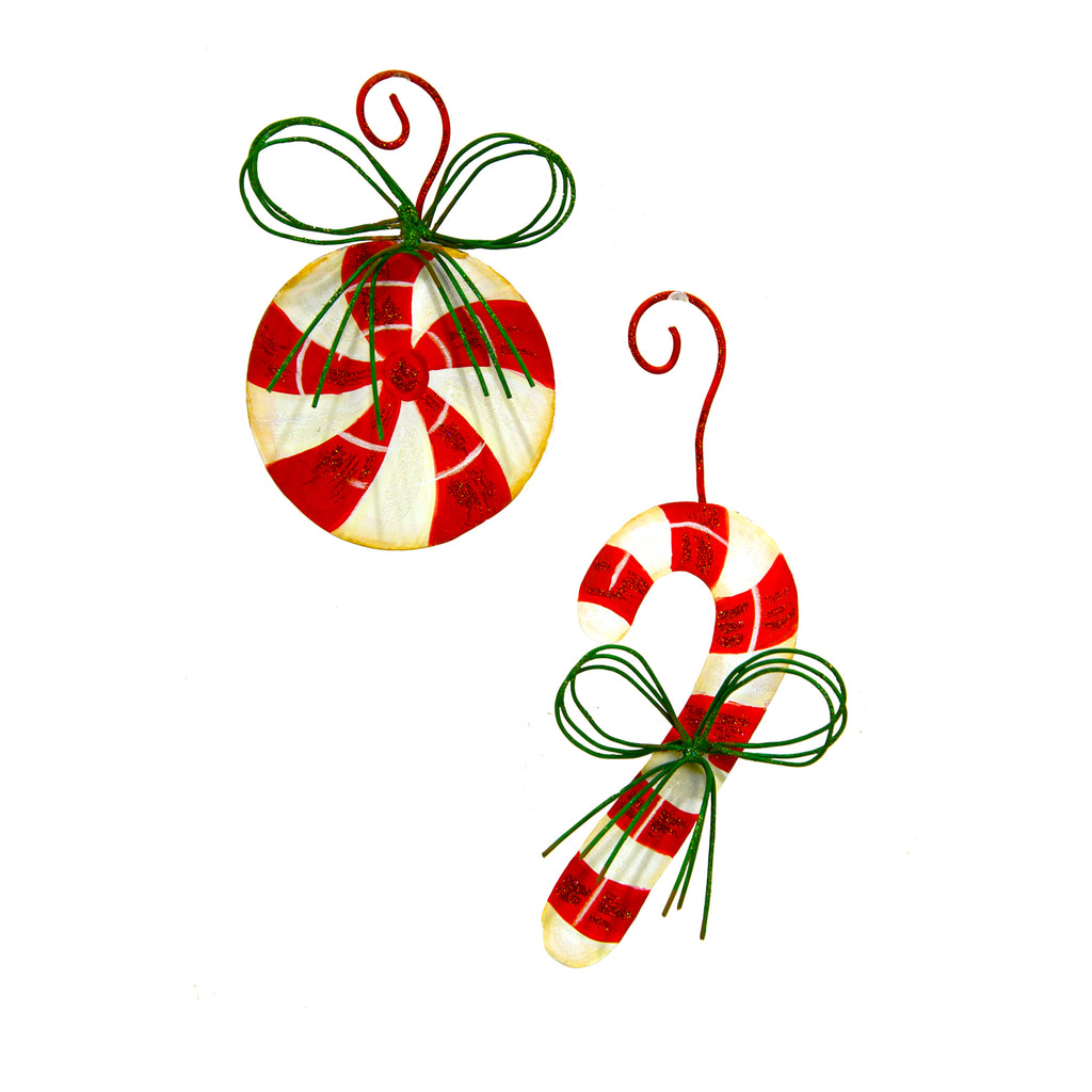 Candy Cane Peppermint Ornaments, 2 Asst