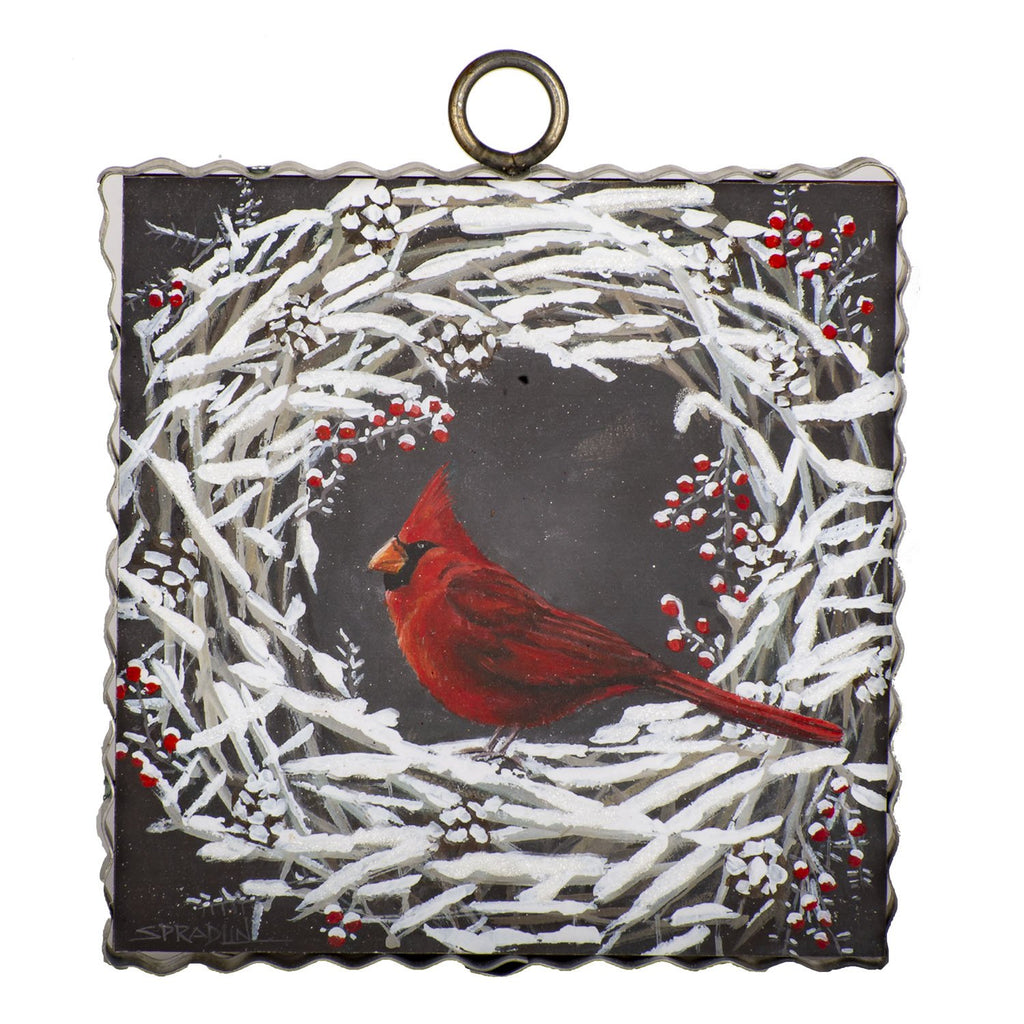 Small Cardinal Snowy Wreath