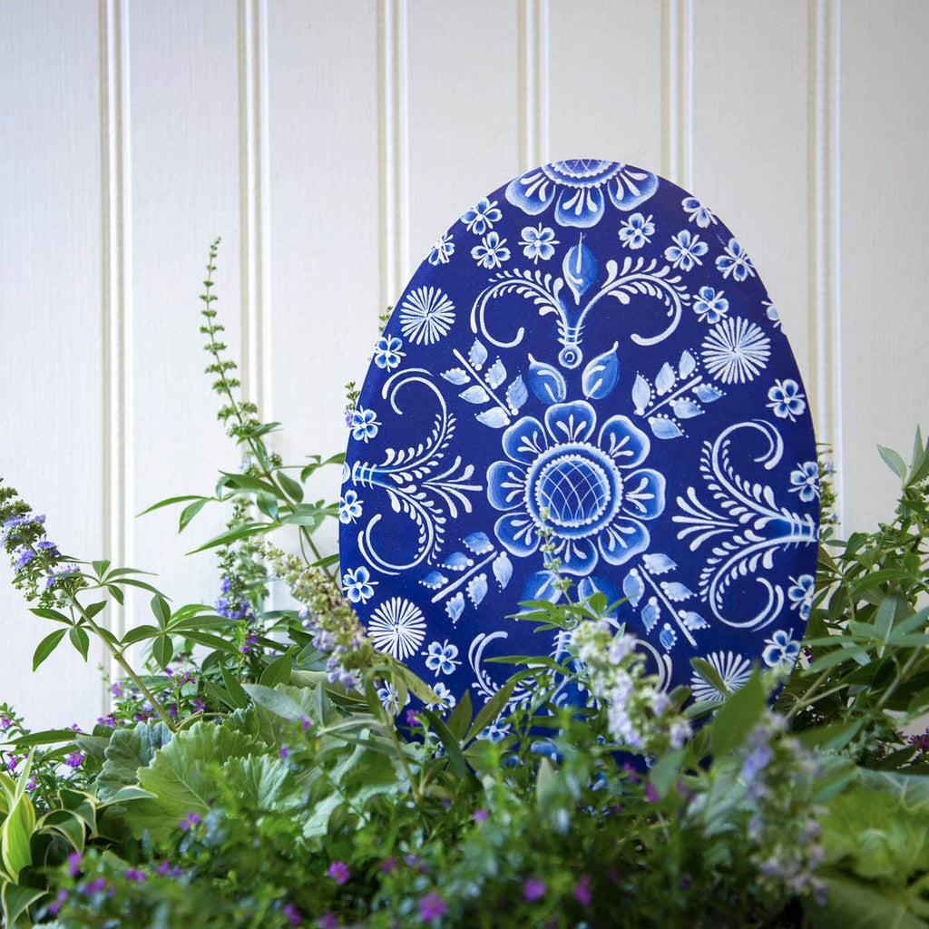 Indigo Embossed Egg, Large