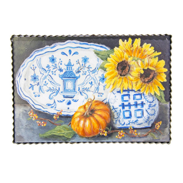 Blue & White Sunflower Art