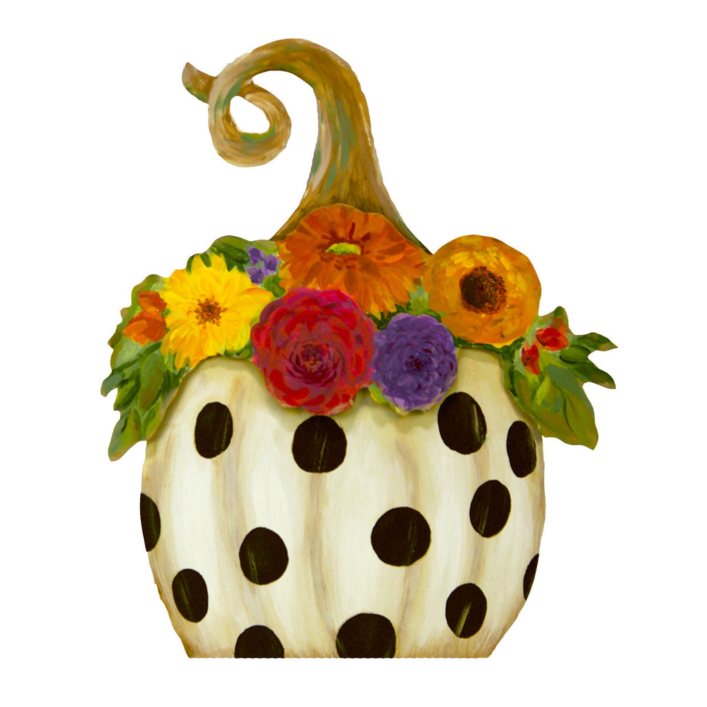 Black dot Pumpkin with Flowers