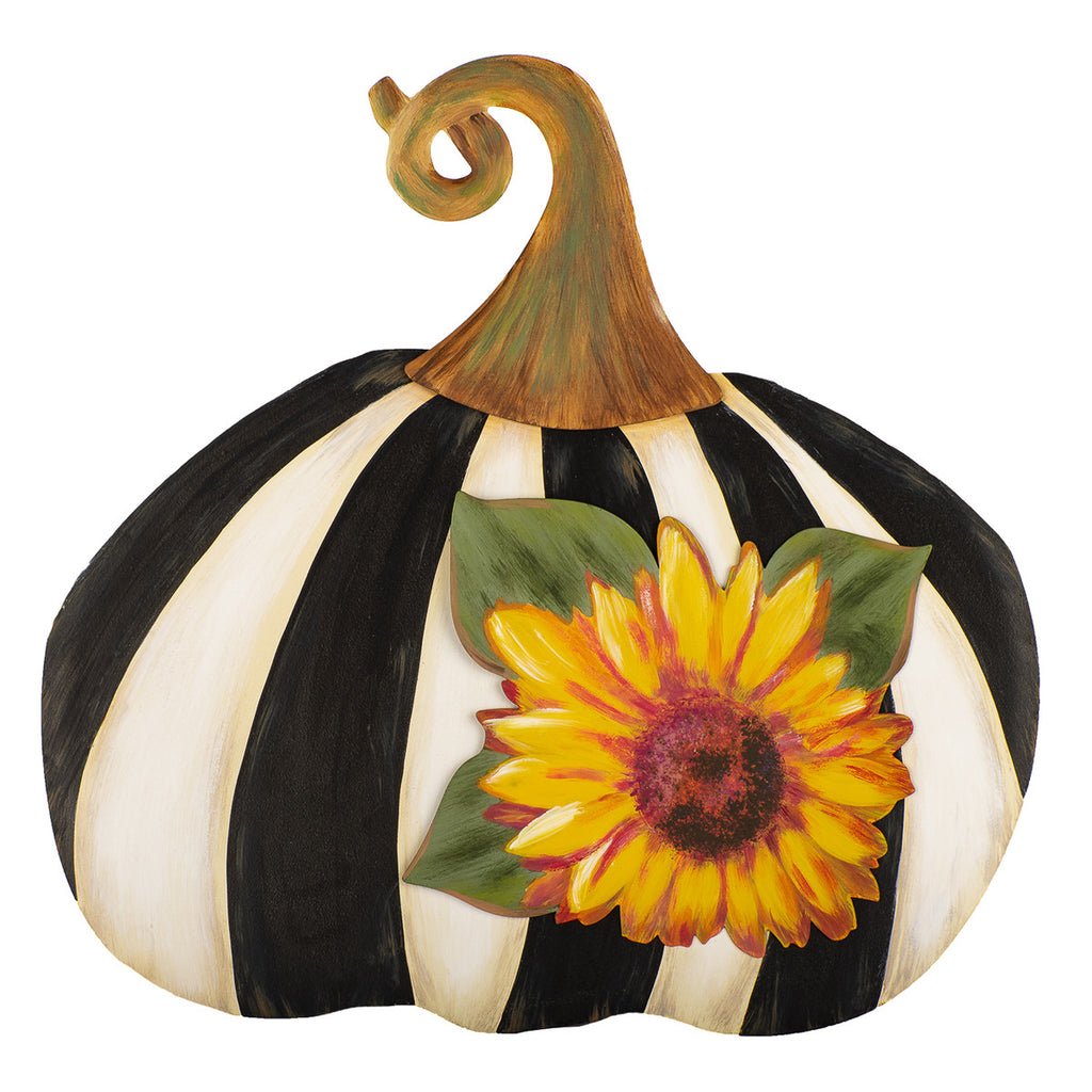 Black and White Striped Pumpkin With Sunflower