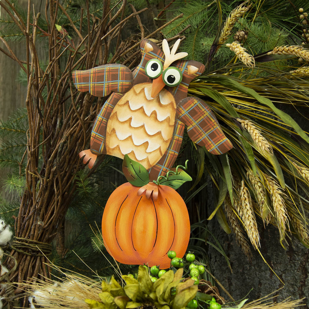 Plaid Owl on Pumpkin