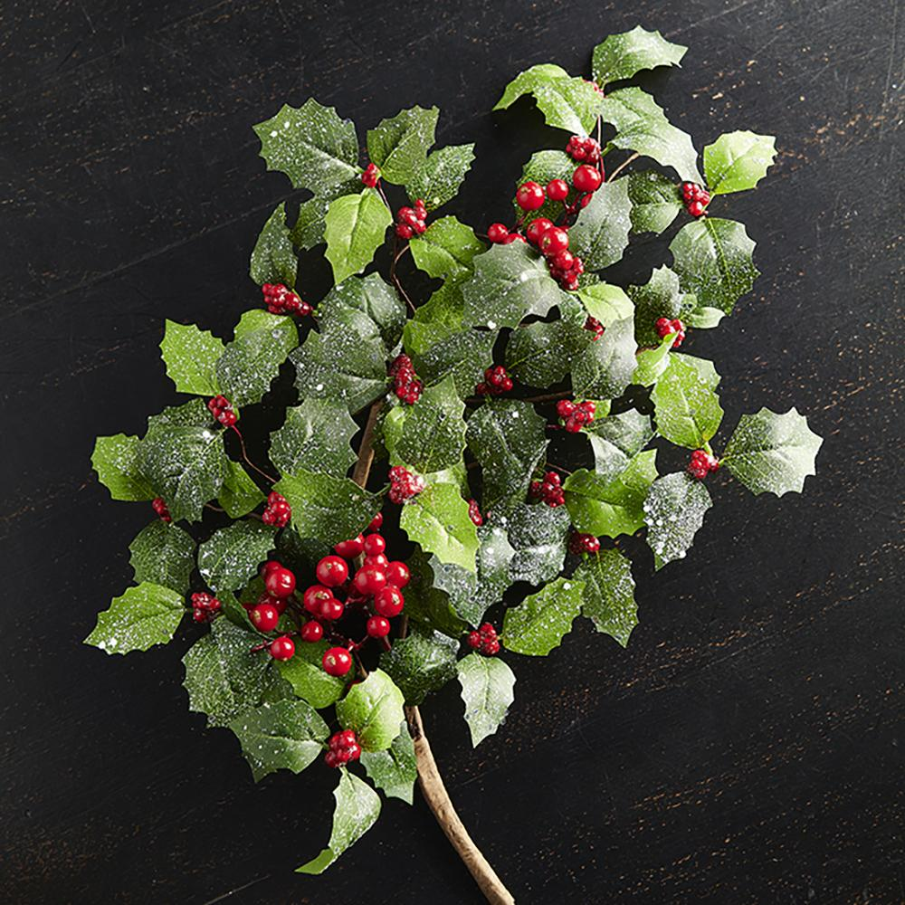 "29.5"" Glittered Holly and Berry Spray"