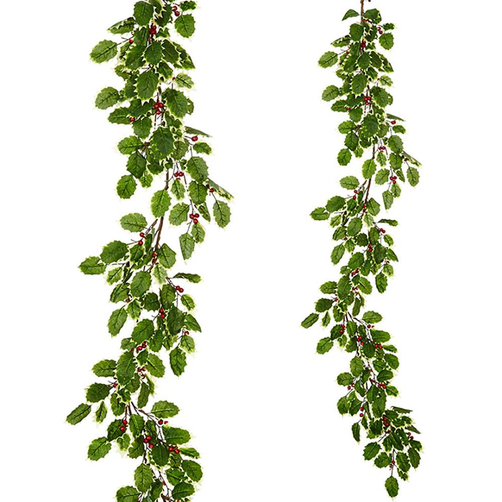 5' Holly and Berry Garland