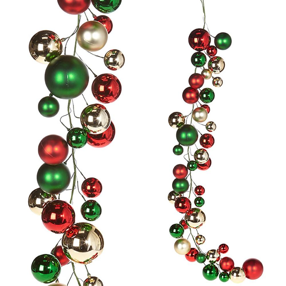 4' Ball Garland, Red , Green and Gold