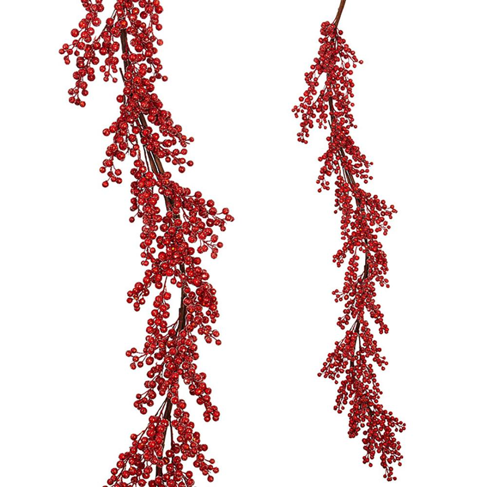 5' Glittered Red Berry Garland