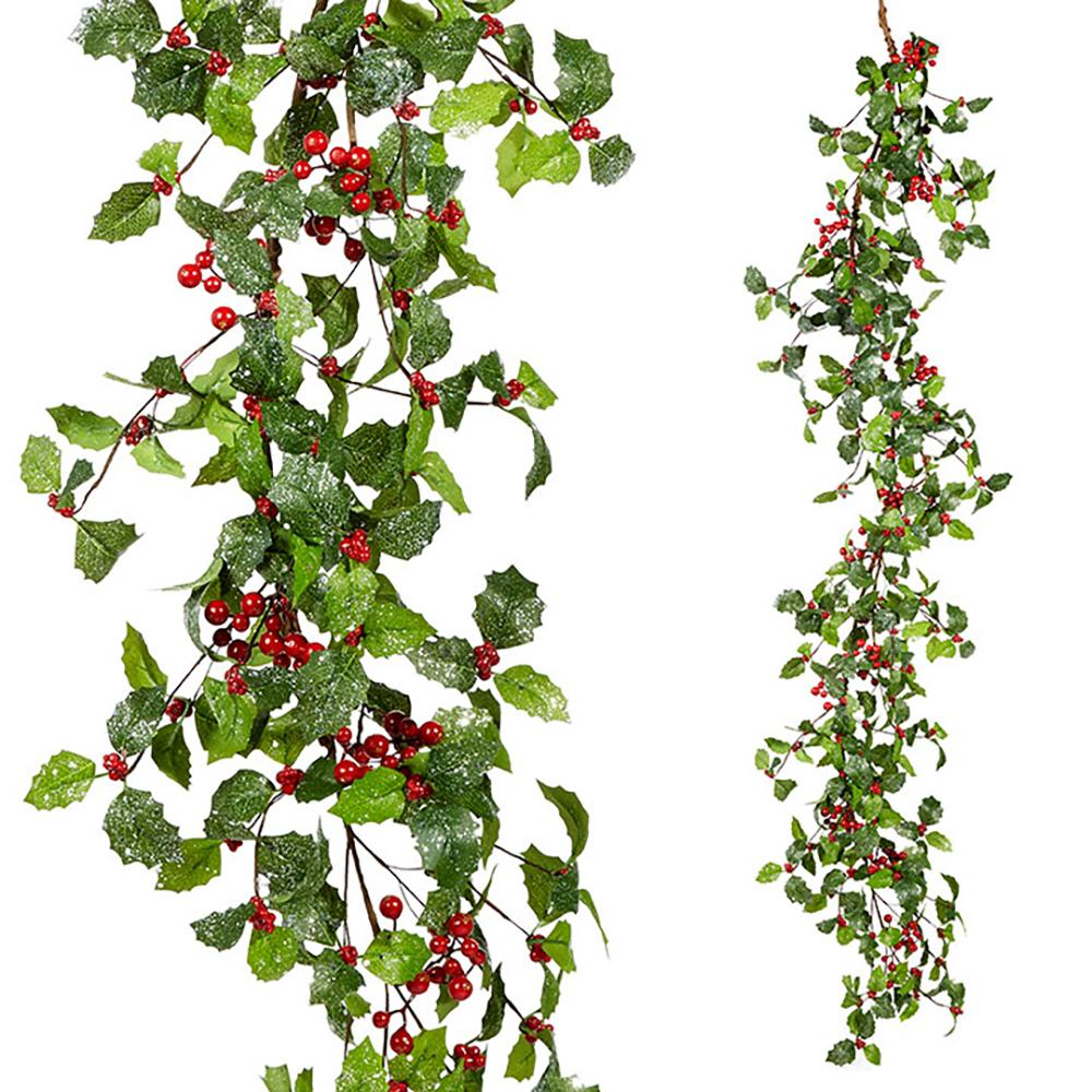 5' Glittered Holly and Berry Garland