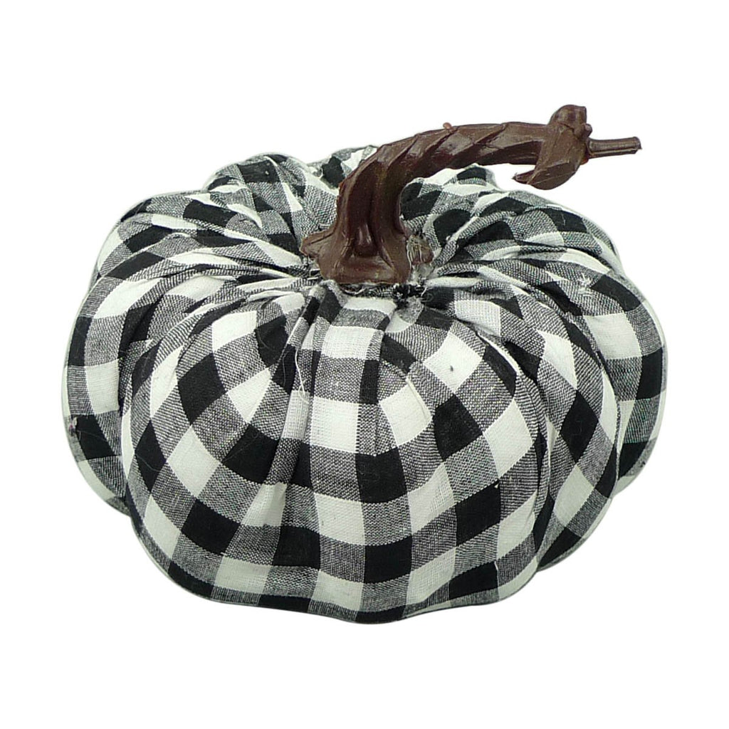 Black and White Check Fabric Plaid Pumpkin H4.5