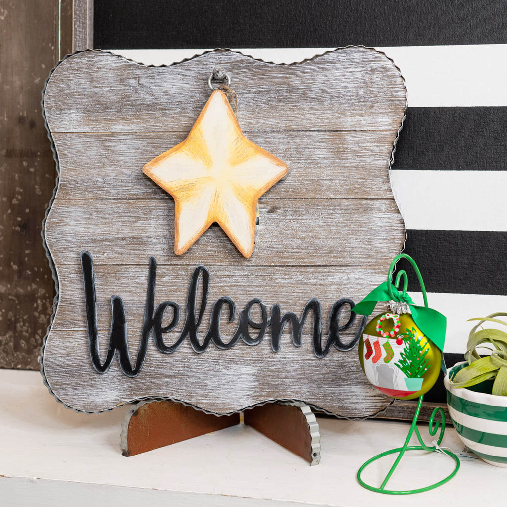 """Welcome"" Metal & Wood Board"