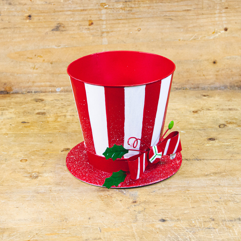 "Red and White Metal Top Hat, 8"" x 8"" x 7"""