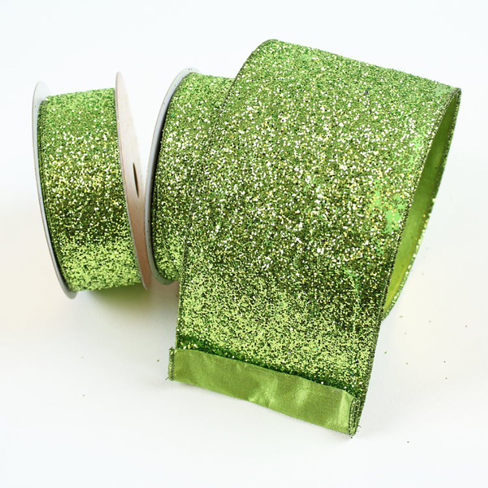 Glitter Magic Lime Green Ribbon