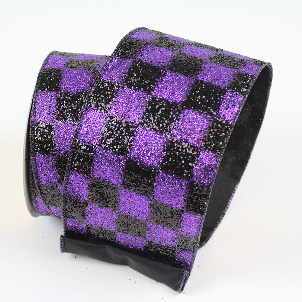 Black Checks Purple Ribbon