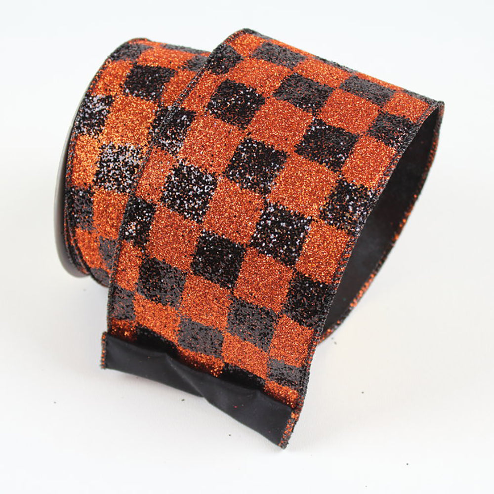 Black Checks Ribbon Orange Ribbon