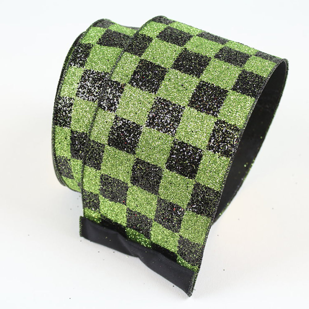 Black Checks Lime Green Ribbon