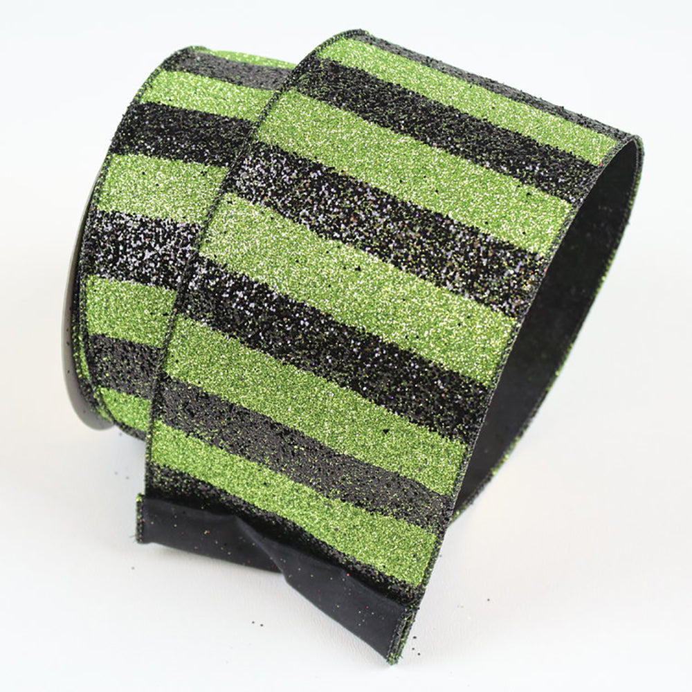 Black Stripes Lime Green Ribbon