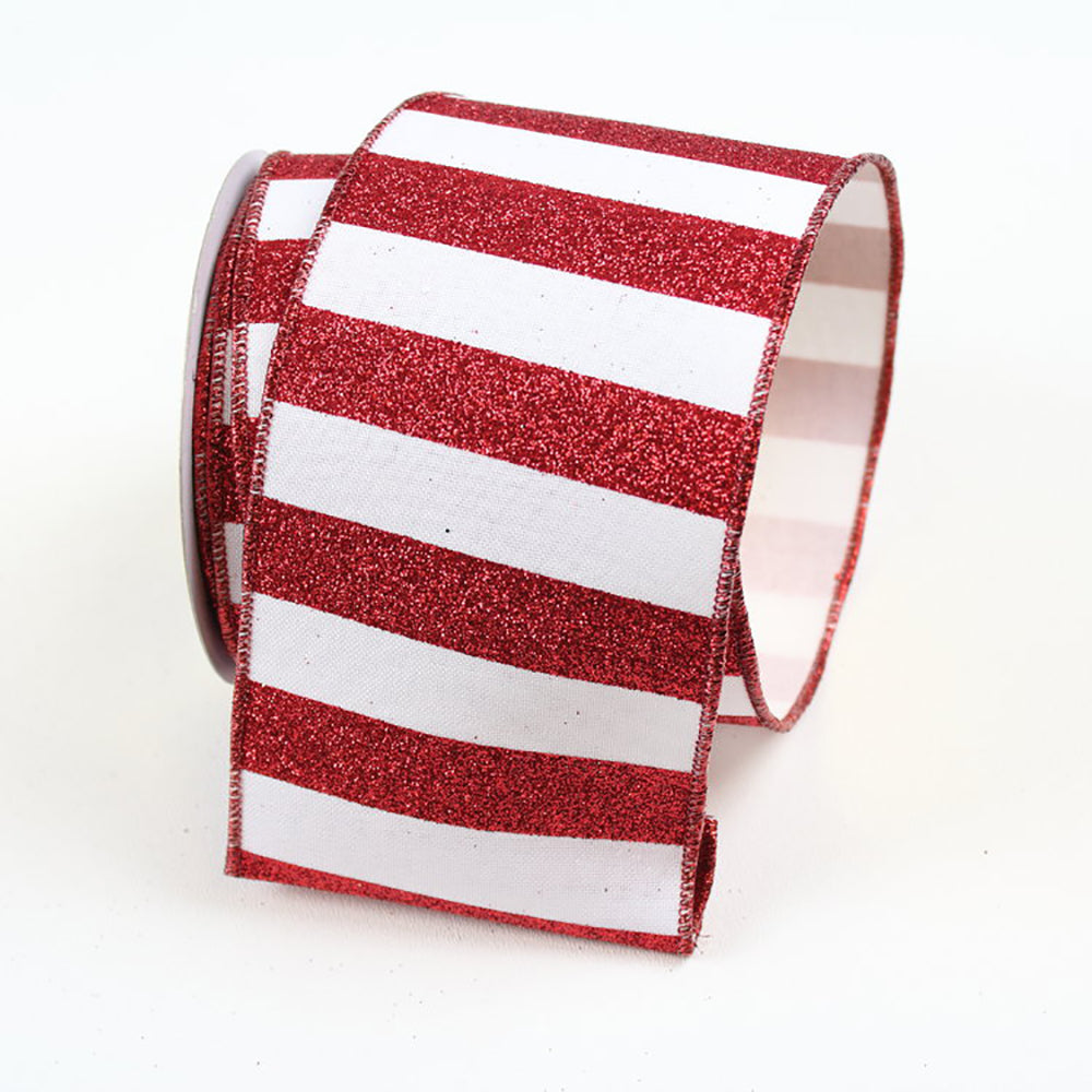 Glitter Stripes Red & White Ribbon
