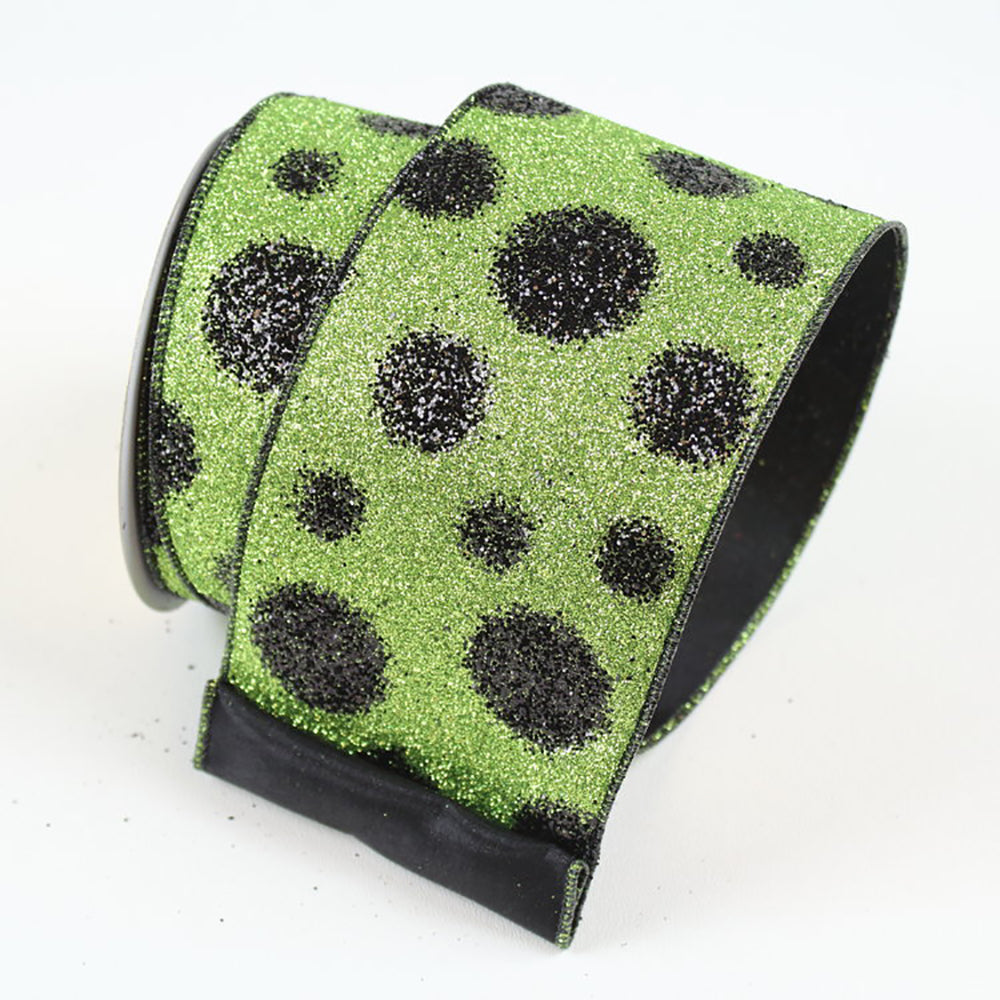 Black Dots Lime Green Ribbon